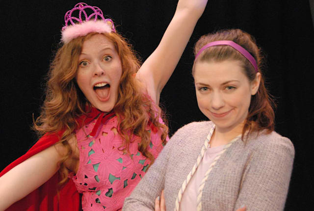 "Merrilee Mannerly - (Molly Garbe - right) teaches her new friend Princess Posy - (Sarah Mae Banning - left) all about good manners in the world premier of ""Merrilee Mannerly- a magnificent new musical"" at Summer Theatre of New Canaan."