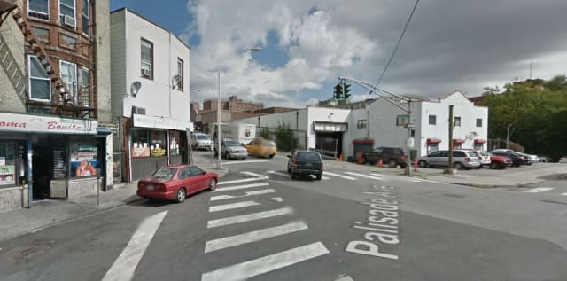 The corner of Palisade Avenue and Elm Street in Yonkers where three people, including a child, were shot Friday night.