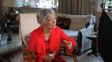 New Rochelle native Ruby Dee being interviewed for a documentary about her life.