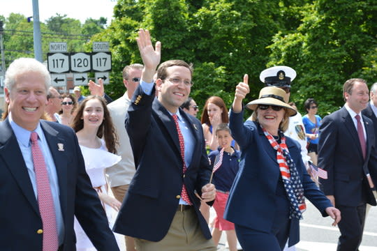 Hillary Clinton, pictured marching in New Castle's 2014 Memorial Day parade in Chappaqua.