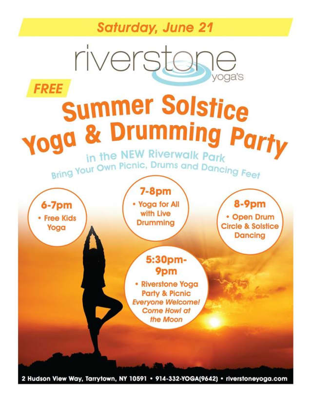 Tarrytown's Riverstone Yoga will host a Summer Solstice Yoga & Drumming Party, Saturday, June 21 in Tarrytown.