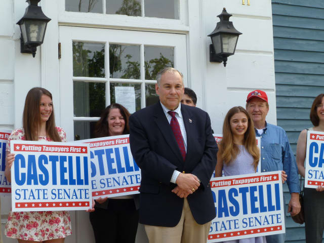 Robert Castelli at his primary bid announcement in South Salem.