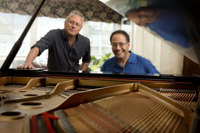 Joel Martin (right, seen here with Alan Menken) will be performing on June 28 in the Weatherstone Studio at 2 Renshaw Road in Darien to benefit the Darien Arts Center.