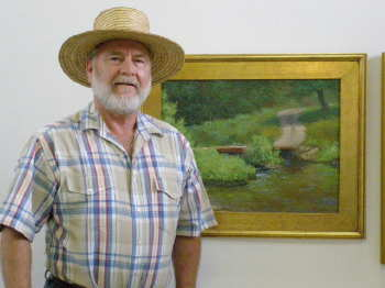 Jon Houglum, with his painting of the Cane River Bridge, will display his work in July at the Geary Gallery in Darien.