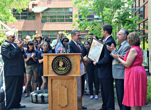 Mayor Mike Spano names Lincoln High School as the city's School of the Month for June.