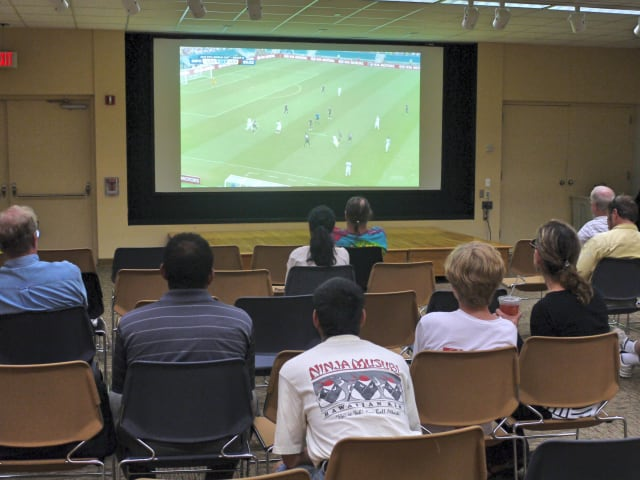 Anxious viewers at the Westport Library as the United States played against Germany in their final group game of the 2014 World Cup