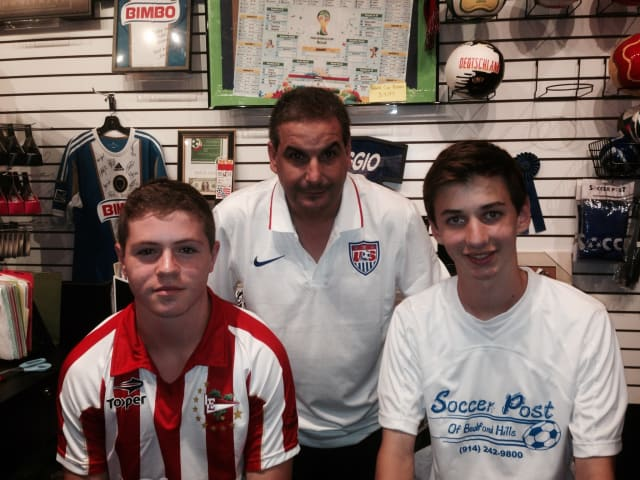Pictured from left, are Daniel Bank, Soccer Post owner Jerry Frieri and Nicholas Fierro.
