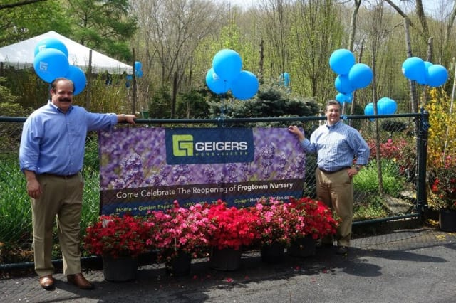 John Geiger, left, and New Canaan First Selectman Robert Mallozzi III stand by the entrance of the recently opened Geiger's nursery in New Canaan.