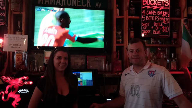 Cat Lennon and Alan O'Connor of O'Connor's Public House in white Plains will host USA-Belgium World Cup soccer on television Tuesday, July 1.