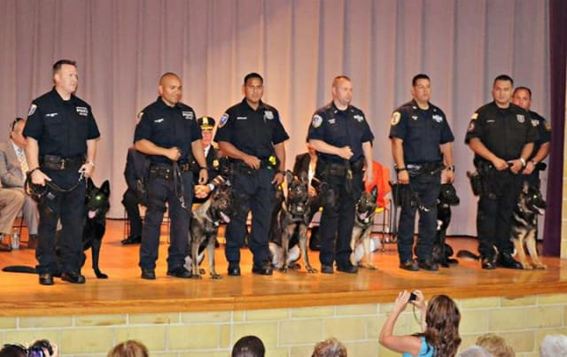 Roscoe and Ex from Yonkers police department, Otis and Mavis from Mount Vernon police department, Rookie from Ramapo police department and Jax from Westchester County police department are the newest K9 graduates.