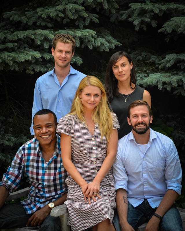 "The cast of Westport Country Playhouse's ""Nora."" From left, seated, LeRoy McClain, Liv Rooth as Nora, Shawn Fagan; standing, Lucas Hall, Stephanie Janssen."