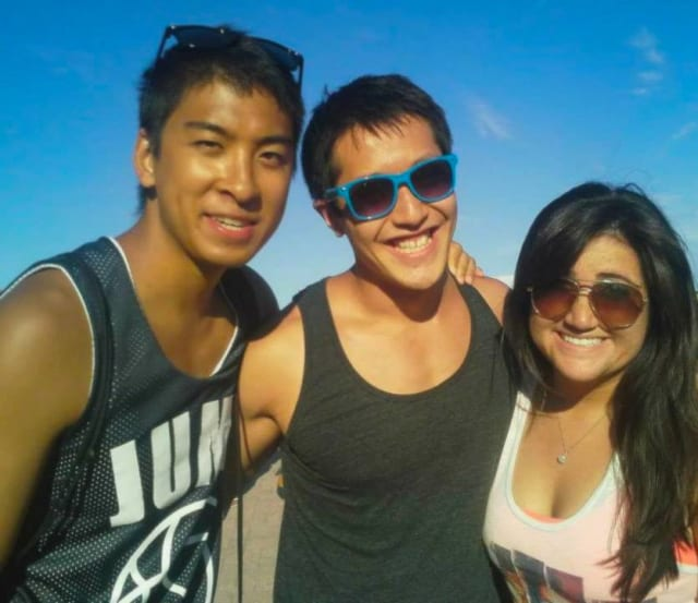 Steve Lam (left) with friends Derek and Melissa at Hudson Park.