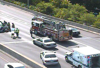 Emergency vehicles respond to an accident on I-95 southbound between Exits 7 and 6 in Stamford on Thursday afternoon.