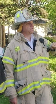 Danbury Fire Chief Geoff Herald, at a house fire last year, is officially retiring this weekend.