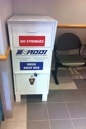 Norwalk residents can dispose of unwanted or unused prescription medications in this drop box, located in the lobby of police headquarters.