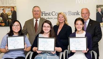 Casey Bang, Lila Sferlazza and Claire Howlett are recipients of the Richard E. Taber Citizenship Award scholarship administered by First County Bank Foundation. Top, Richard E. Taber, Katherine Harris, Reyno A. Giallongo, Jr.
