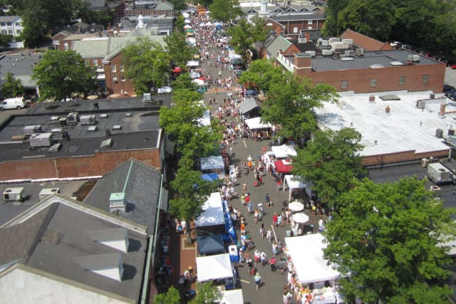 An aerial view shows a past Village Fair & Sidewalk Sale in New Canaan.