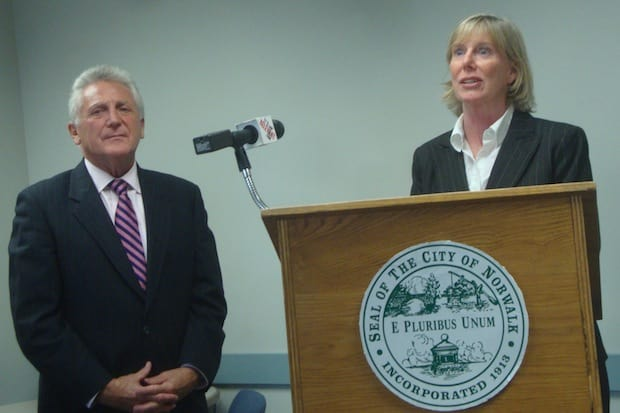 Norwalk Mayor Harry Rilling and Elizabeth Stocker announce Stocker's appointment as the city's new Economic Development Director.