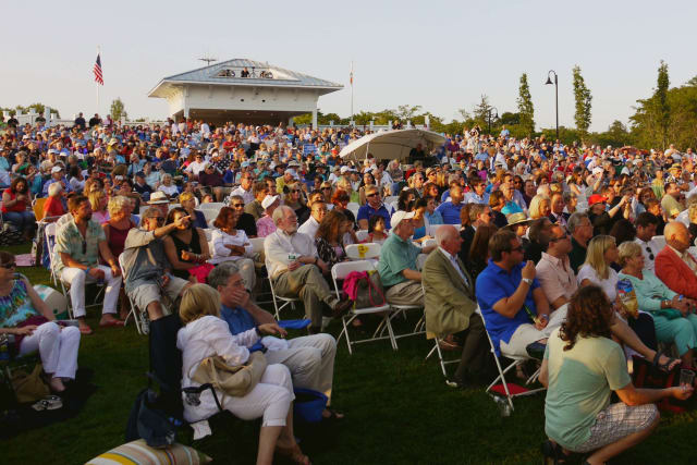 Hundreds gather at the kick off party to Westport's newly renovated Levitt Pavilion on Sunday evening.