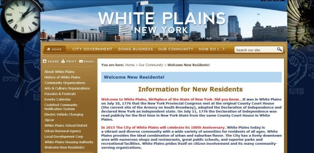 The city of White Plains has launched a new website to provide information for prospective residents.