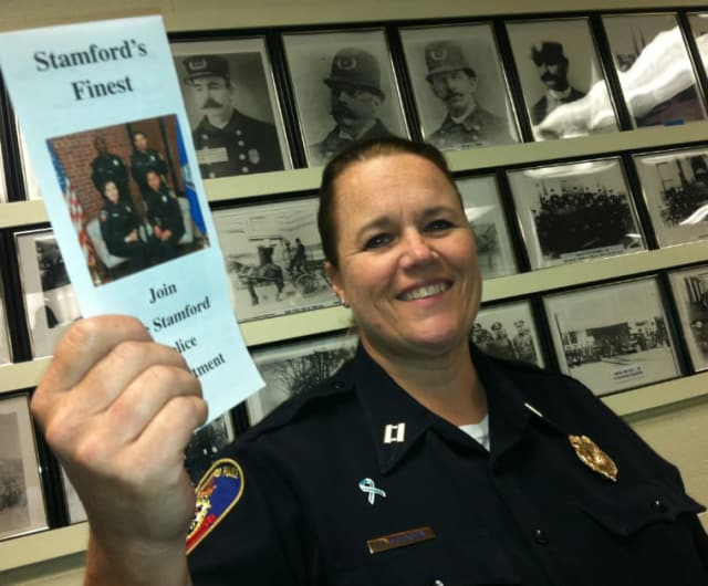Stamford Police Capt. Elizabeth Erickson is leading the department's efforts to get people to apply to become a police officer. The application deadline is Aug. 29.