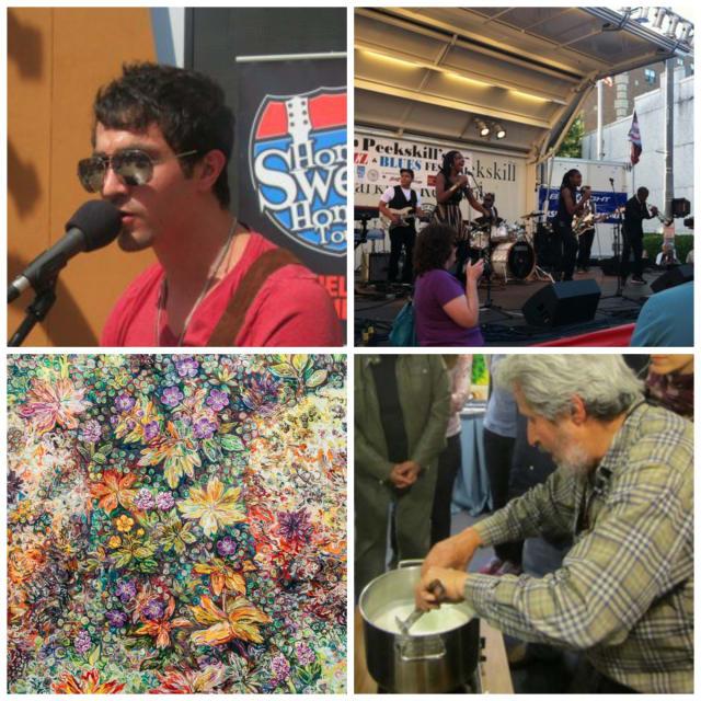 Clockwise: Ossining Summerfest Peekskill Music Festival, Cheese-making, Icelandic art exhibit