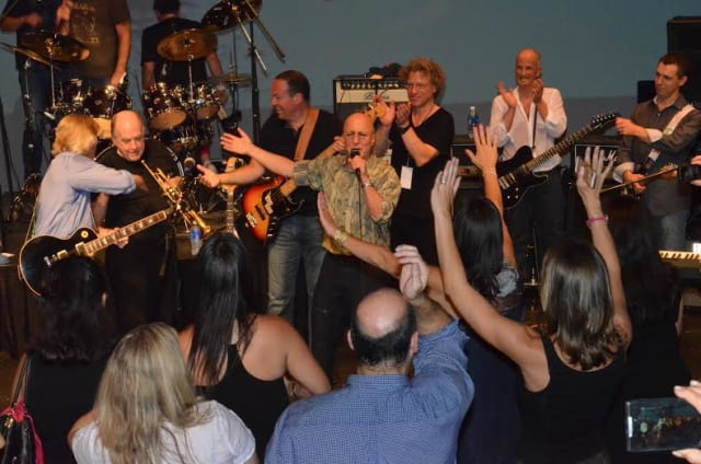 Paul Shaffer, Lew Soloff and 'Daddy Bands' The Shaves, Ask Your Mom and ONL perform encore number at Daddy Bands concert on July 26, 2014. Proceeds from the concert benefit Norther Westchester Hospital's Music Therapy Program.