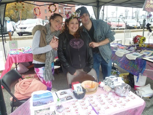 Glitter & Grime craftmakers Dina Scortino and Rosie Vadella and friend Anthony Ringo at Hastings Flea