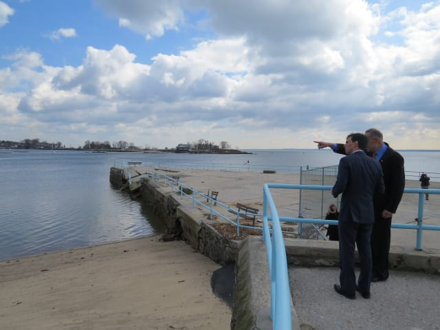U.S. Sen. Chuck Schumer and New Rochelle Mayor Noam Bramson survey the damage in the city following Hurricane Sandy in 2012.