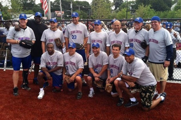The celebrities lining up at the inaugural softball game in 2012.