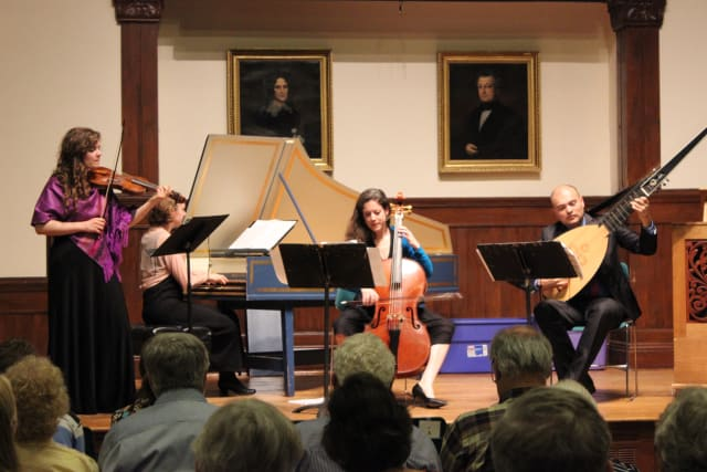 Pallade Musica performs in front of an audience of nearly 60 people at Pequot Library.