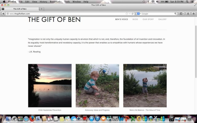 A screenshot of the homepage of The Gift of Ben.com.