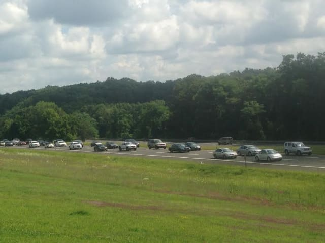 Heavy traffic on I-684 north of Armonk late Monday.
