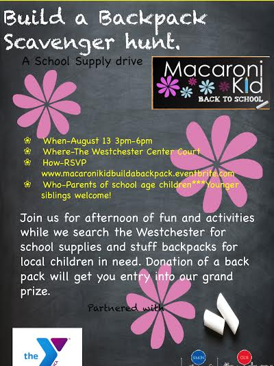 Build a backpack scavenger hunt will held at The Westchester mall to support local children in need.
