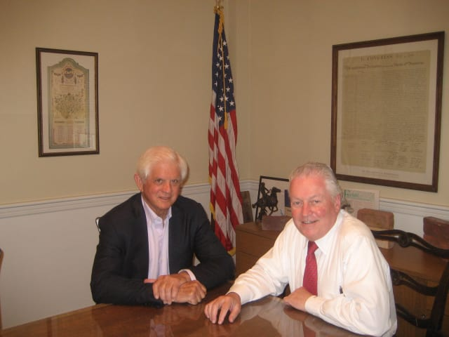 Penfield Building Committee is chaired by Jim Bradley, left, shown here with First Selectman Mike Tetreau.