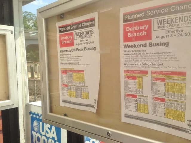 Metro-North Railroad will run buses along the Danbury Branch for the next three weekends.