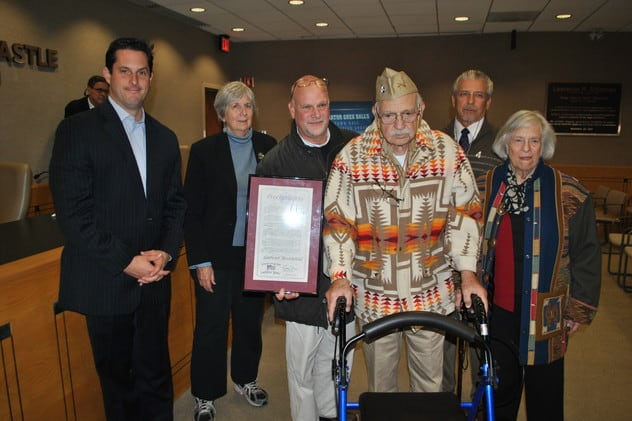 Gabriel Rosenfeld, pictured in 2012, being honored for the 40th Senate District Veterans Hall of Fame.