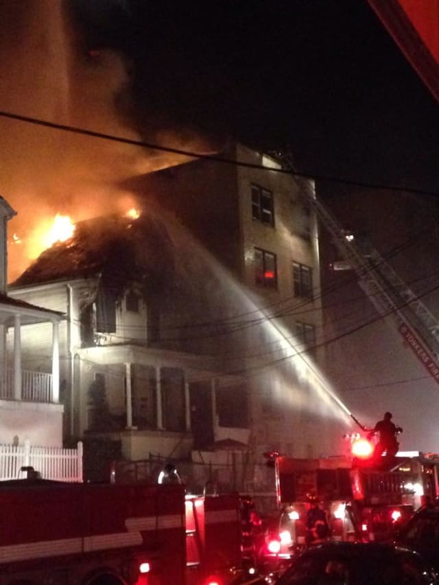 Yonkers firefighters battled a three-alarm fire on Saratoga Avenue.