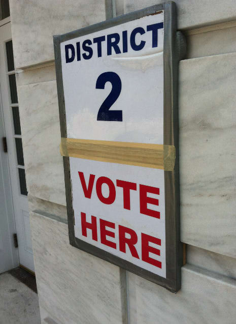 Greenwich Republicans will vote for a number of candidates including a race between Greenwich's Tom Foley and state Senator John McKinney of Fairfield in the gubernatorial primary Tuesday. Pictured, Monday, is the sign at Greenwich Town Hall.