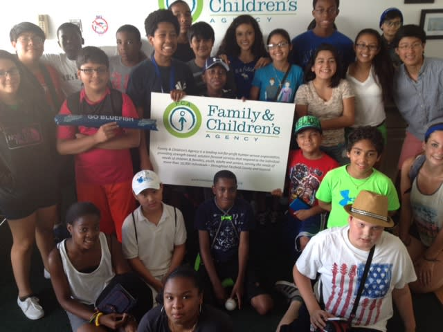 St. Matthew Knights of Columbus Council 14360 sponsored seats for many youths involved in FCA programs to attend Bridgeport Bluefish games.