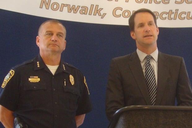 Norwalk Police Chief Thomas Kulhawik and U.S. Rep. Jim Himes