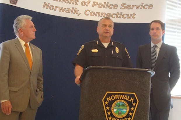 Mayor Harry Rilling, Chief Thomas Kulhawik and U.S. Rep. Jim Himes announce a $41,000 federal grant for the Norwalk Police Department.