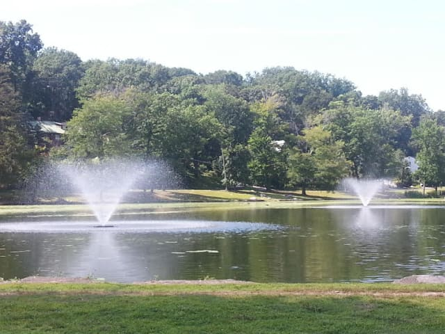 These two lake fountains have been installed to help keep the water healthy and clean in Beehmont Lake.