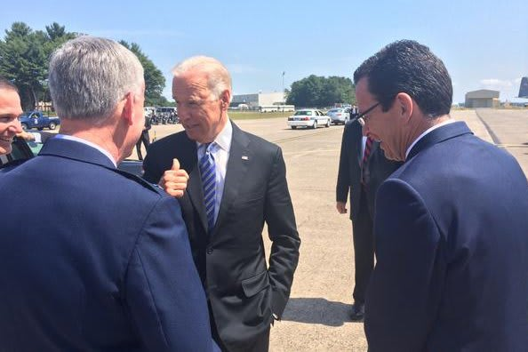 Vice President Joe Biden, center, with Gov. Dannel P. Malloy, right, in Connecticut on Wednesday.