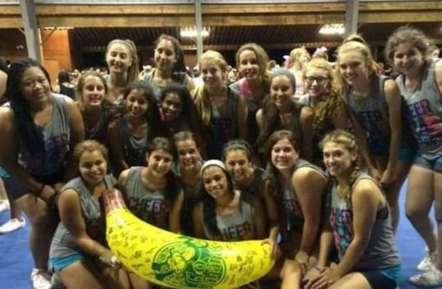 The Port Chester varsity cheerleaders won the Top Banana prize at Chestnut Lake UCA Cheerleading Camp in Pennsylvania.