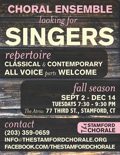 Anyone who would like to be a part of the Stamford Chorale can attend the first rehearsal at 7:30 p.m. Sept. 2.