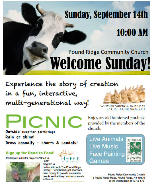 Join Pound Ridge Community Church for its Welcome Sunday.