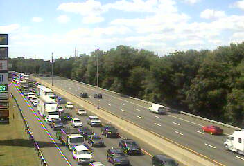Traffic is jammed at noon Thursday on northbound I-95 in Darien and Norwalk due to a car fire.
