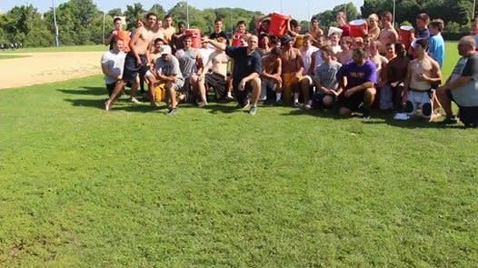 Pelham Memorial High School football team takes the ALS ice bucket challenge to honor their former youth coach Anthony Senerchia.