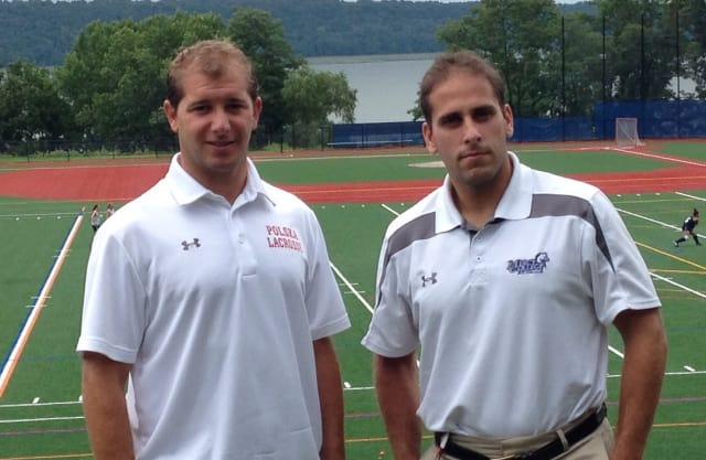 Irvington High School varsity boys lacrosse coach Drew Werney and Mercy College coach Jordan Levine.